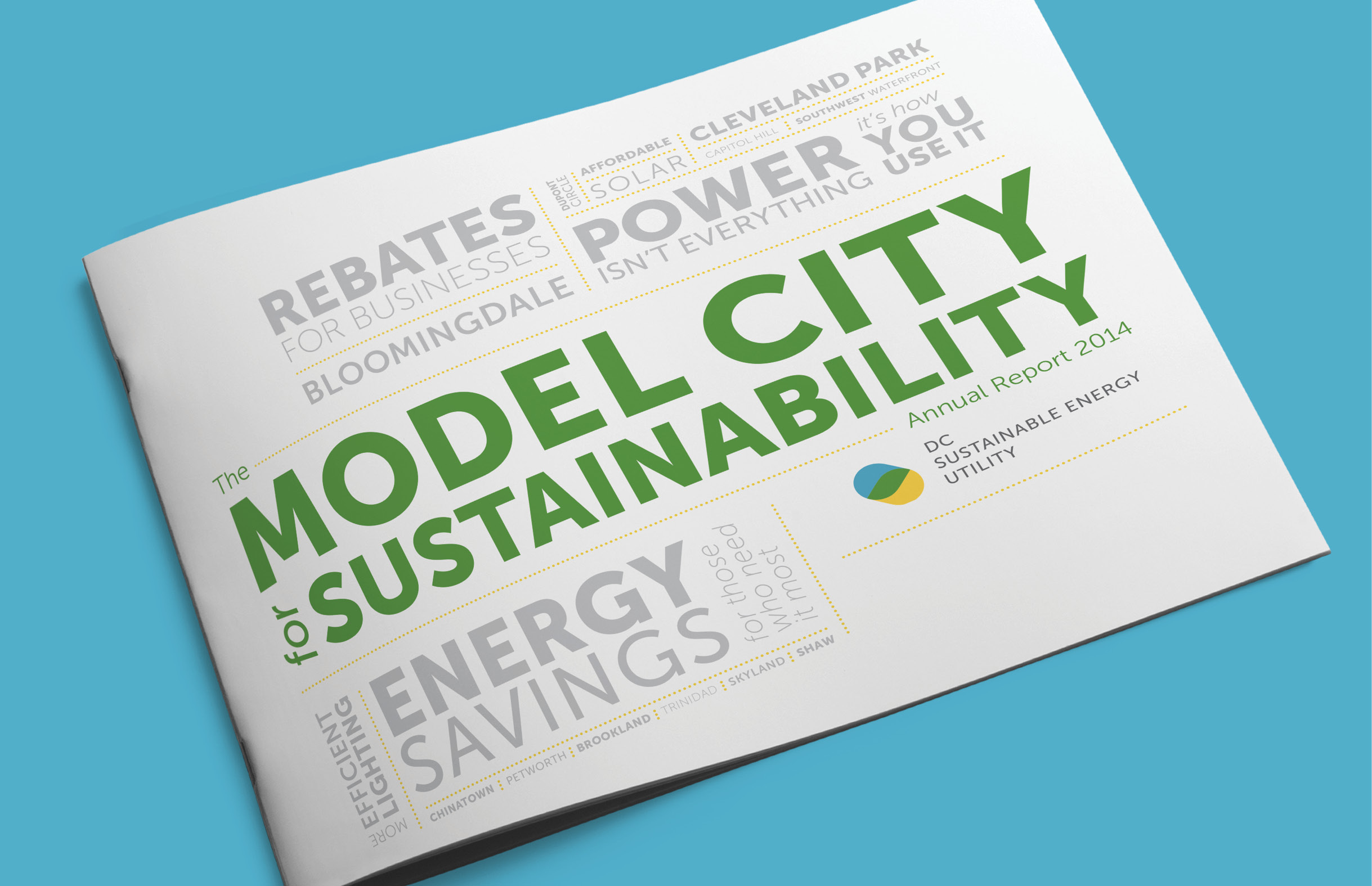 The mostly white cover of the DCSEU annual report has a word cloud of DC neighborhoods in grey and the title 'Model City for Sustainability' in Green. The report is landscaped letter sized, saddle stitched on a blue background.