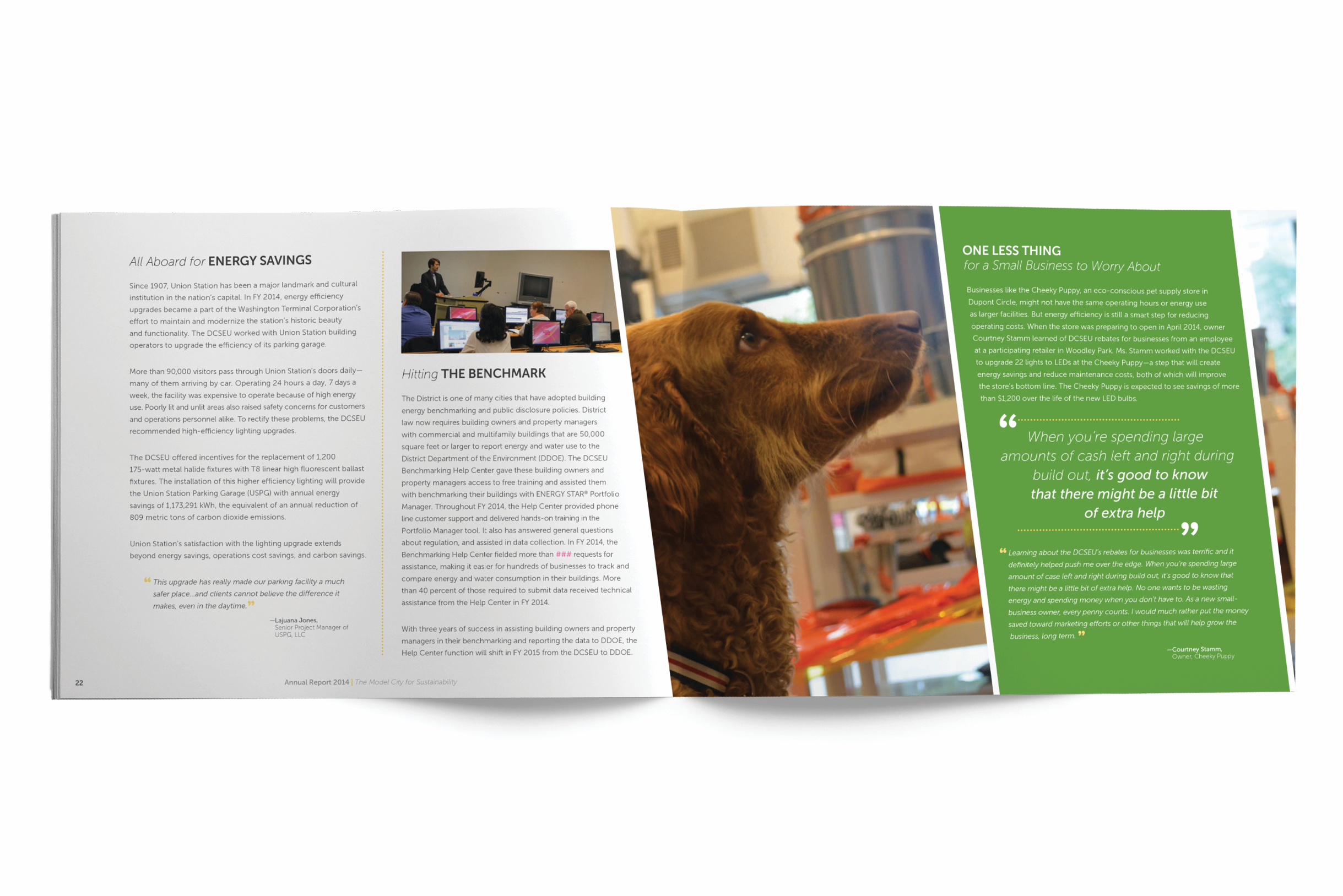 Interior spread of the DCSEU annual report showing a small business case study.