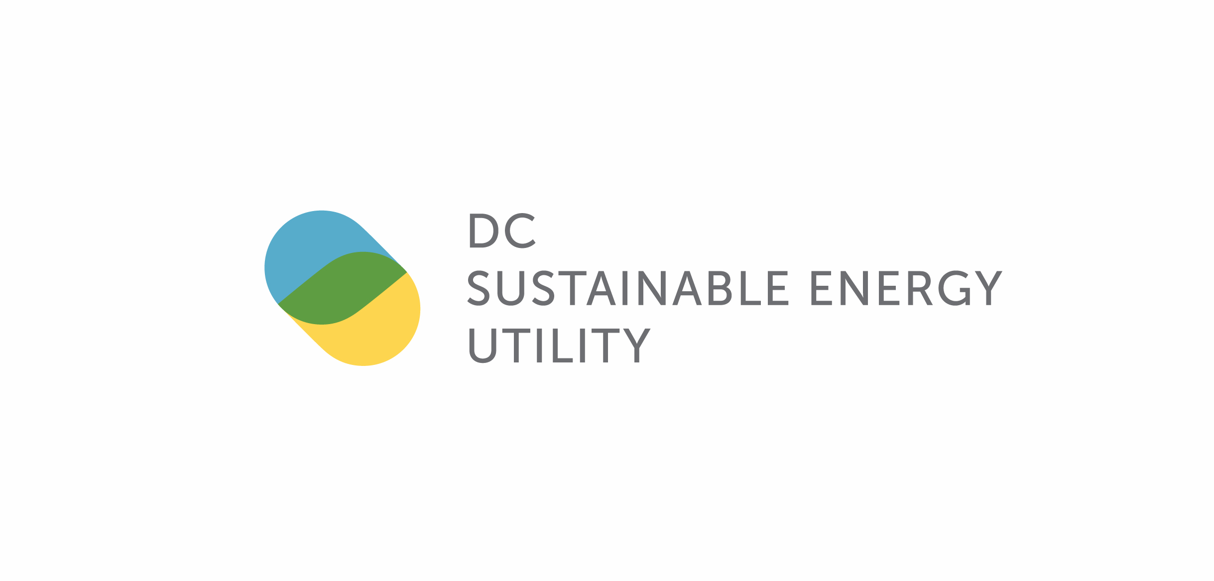 The DCSEU logo consists of two overlapping drop-like shapes, one blue and the other yellow. Where they overlap they create a green path. The words DC Sustainable Energy Utility are set in a san serif typeface to right of the mark.