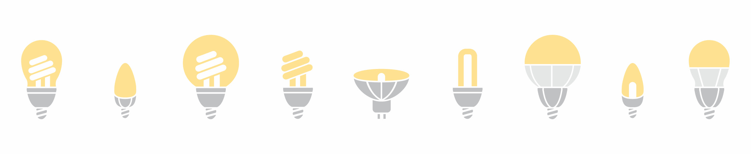 A series of nine grey and yellow light bulb icons depicting the nine sustainable bulb types in the promotional package.