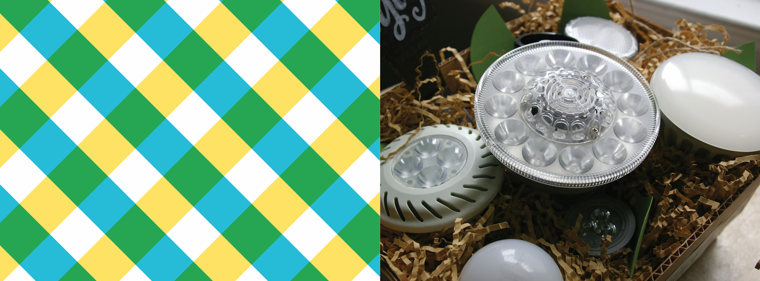 The left half of the image is a plaid pattern made by the three colors of the DCSEU brand: green, yellow and blue. The right half of the image is a closeup of unwrapped bulbs that are in the promotional package.