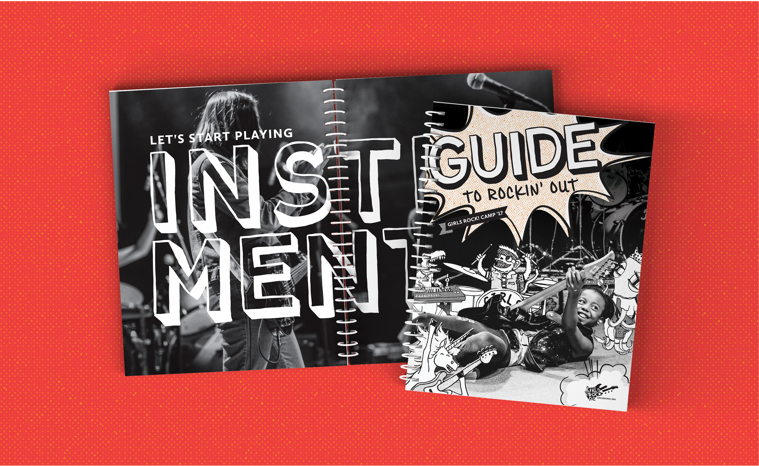 "An inside spread of the book partially obscured by another, closed book showing the cover. The spread is the same from the previous image and shows a black and white, grainy, photo of a youth rockin' on stage with the words ""Let's Start PLaying"" in sans serif typeface and INSTRUMENTS in a comic-like typeface are set in white on top of the photo. The cover shows a black and white, grainy, photo of a youth rockin' on guitar, on stage at the 9:30 club; they are surrounded by line illustrations of: a monkey playing drums, an alligator playing keys, an octopus playing guitar, and a unicorn playing bass. There is a starburst containing the title GUIDE TO ROCKIN OUT. The background of the image is red with an orange dot pattern."