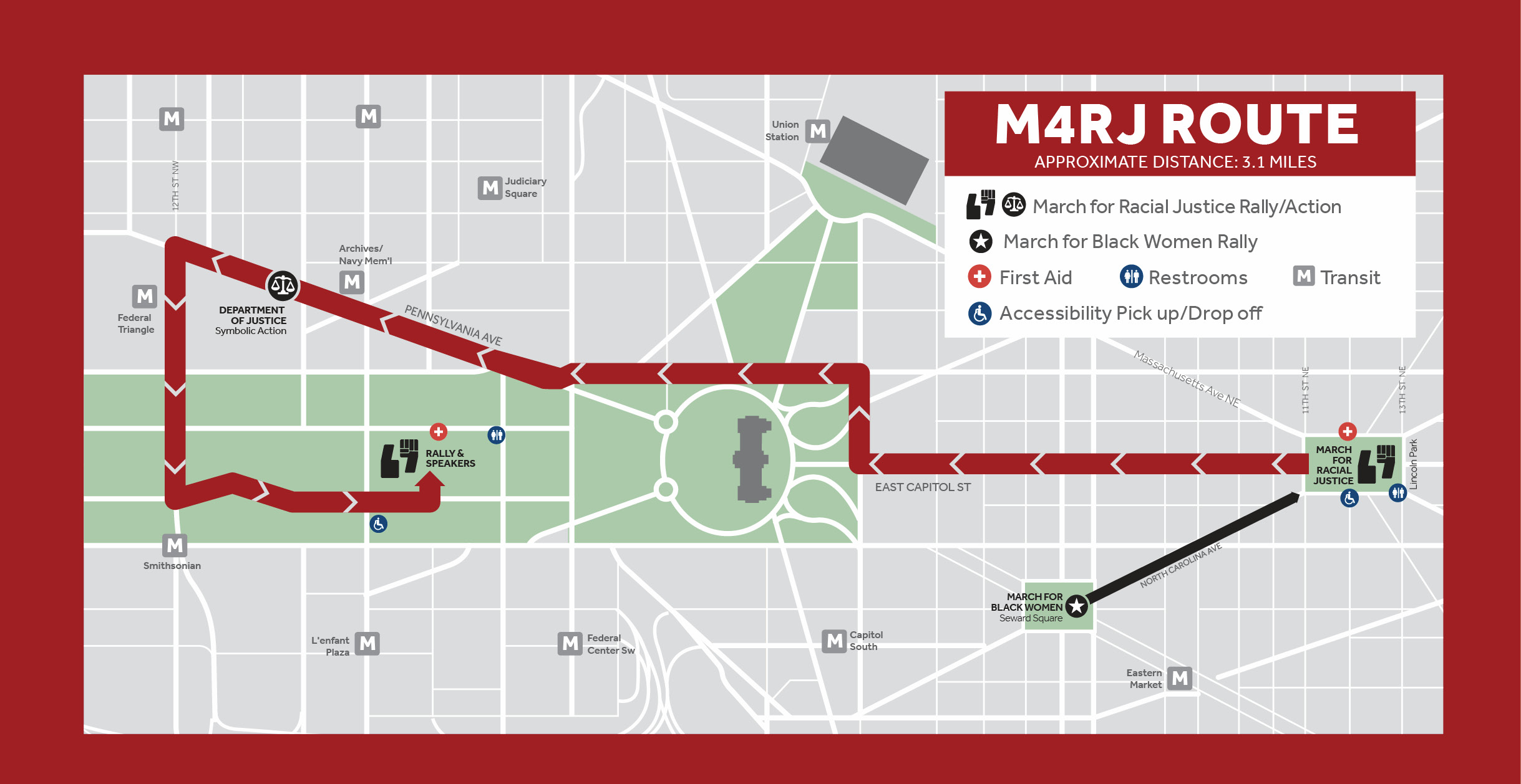 A graphic map of the march route from Lincoln Park to the Mall