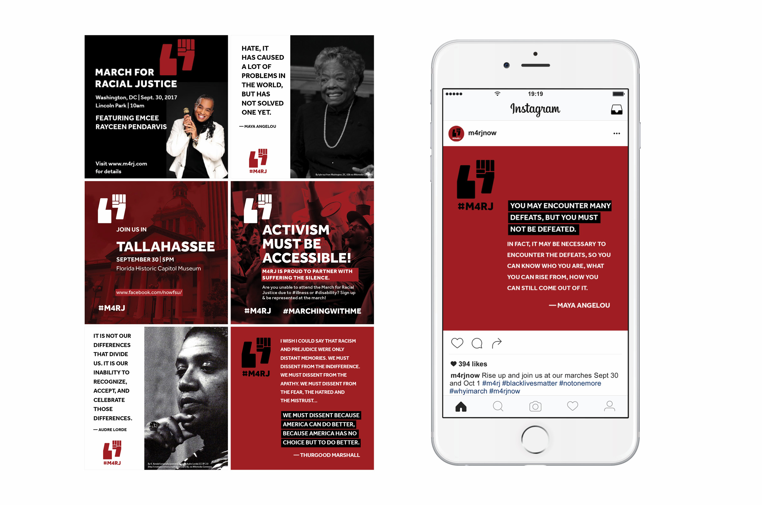A white iPhone showing an M4RJ instagram post of a Maya Angelou quote in white san serif type on a red background. Six additional sample instagram post designs are arranged to the left of the iPhone, including more quotes, invitations to sister marches and announcements of the guest speakers for the march.