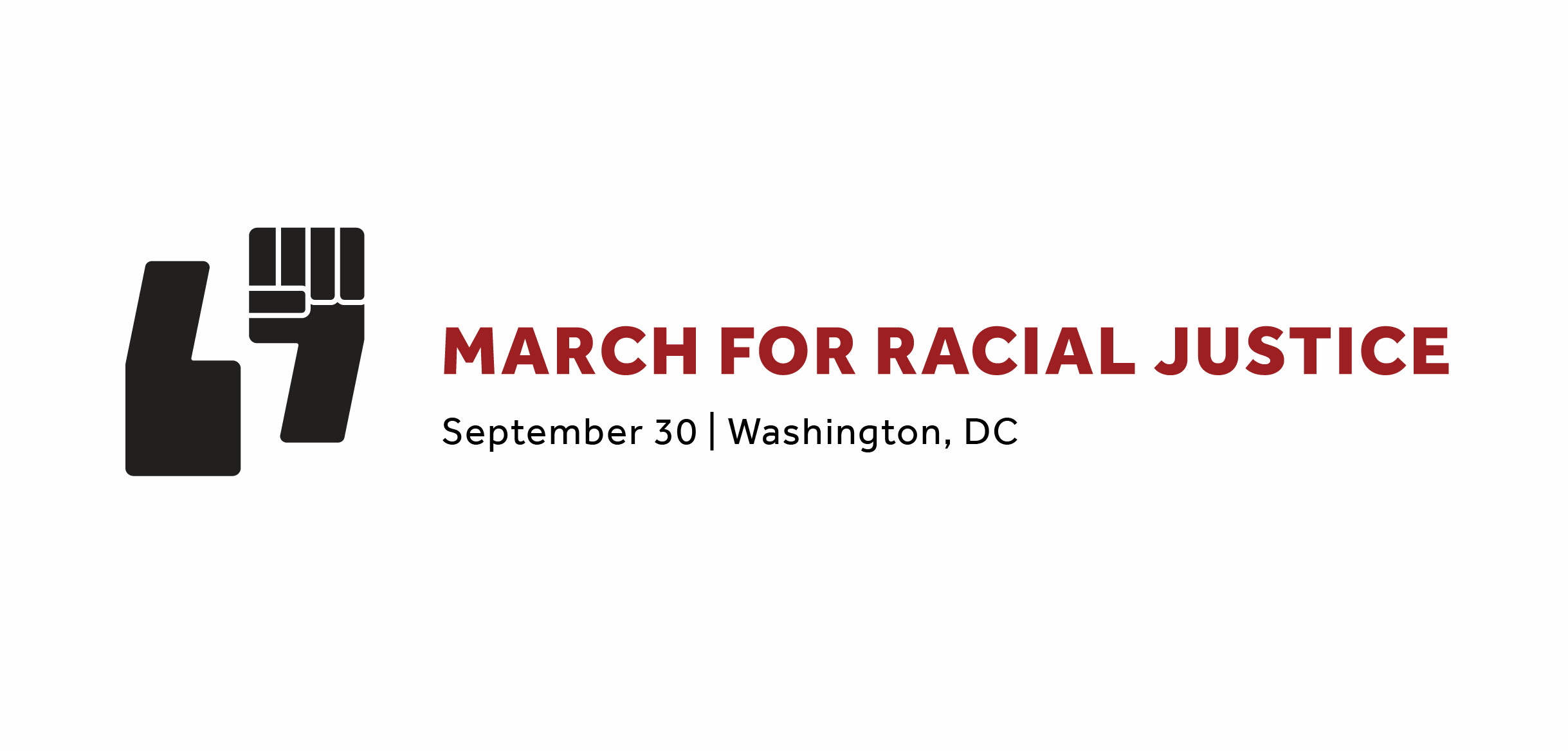 March for Racial Justice Logo consists of a black quote mark and a black fist having a
