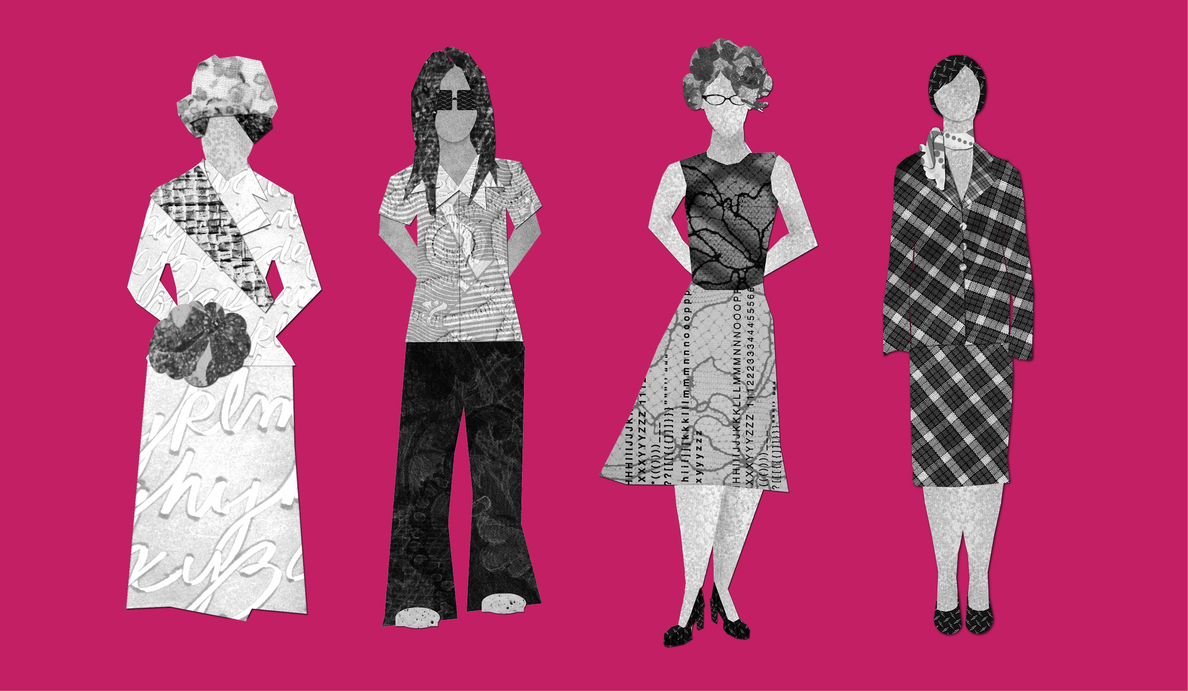 Collaged illustrations of four women representing the different waves of feminism: a suffragette from the 20s, a hippie looking woman from the 70s, and two professionally dressed women.