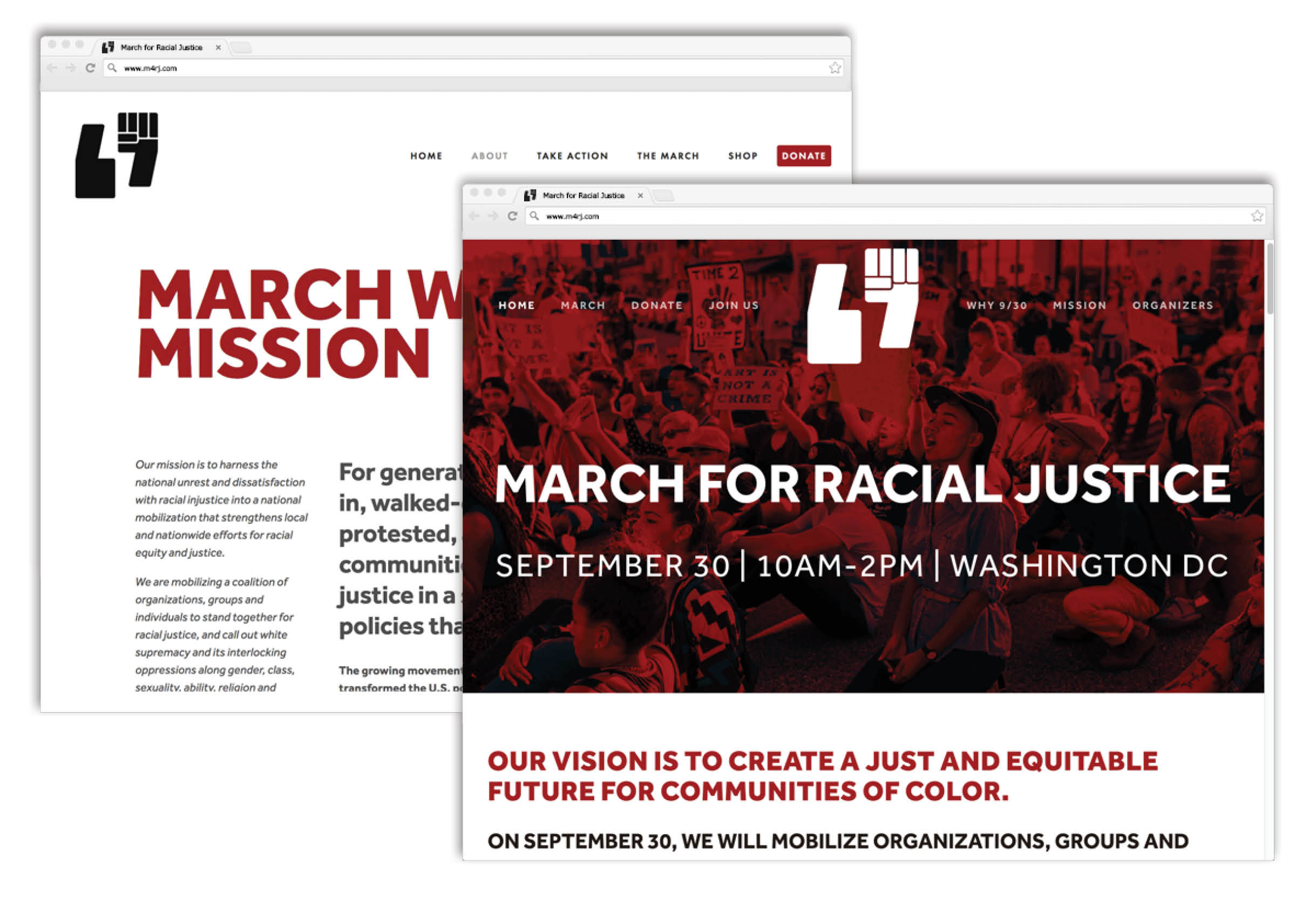 March for Racial Justice website, homepage and mission page