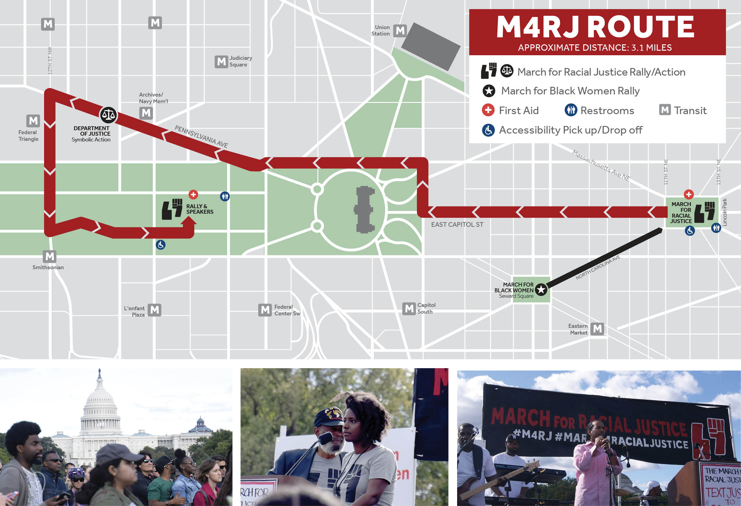 March for Racial Justice march route and rally on the National Mall