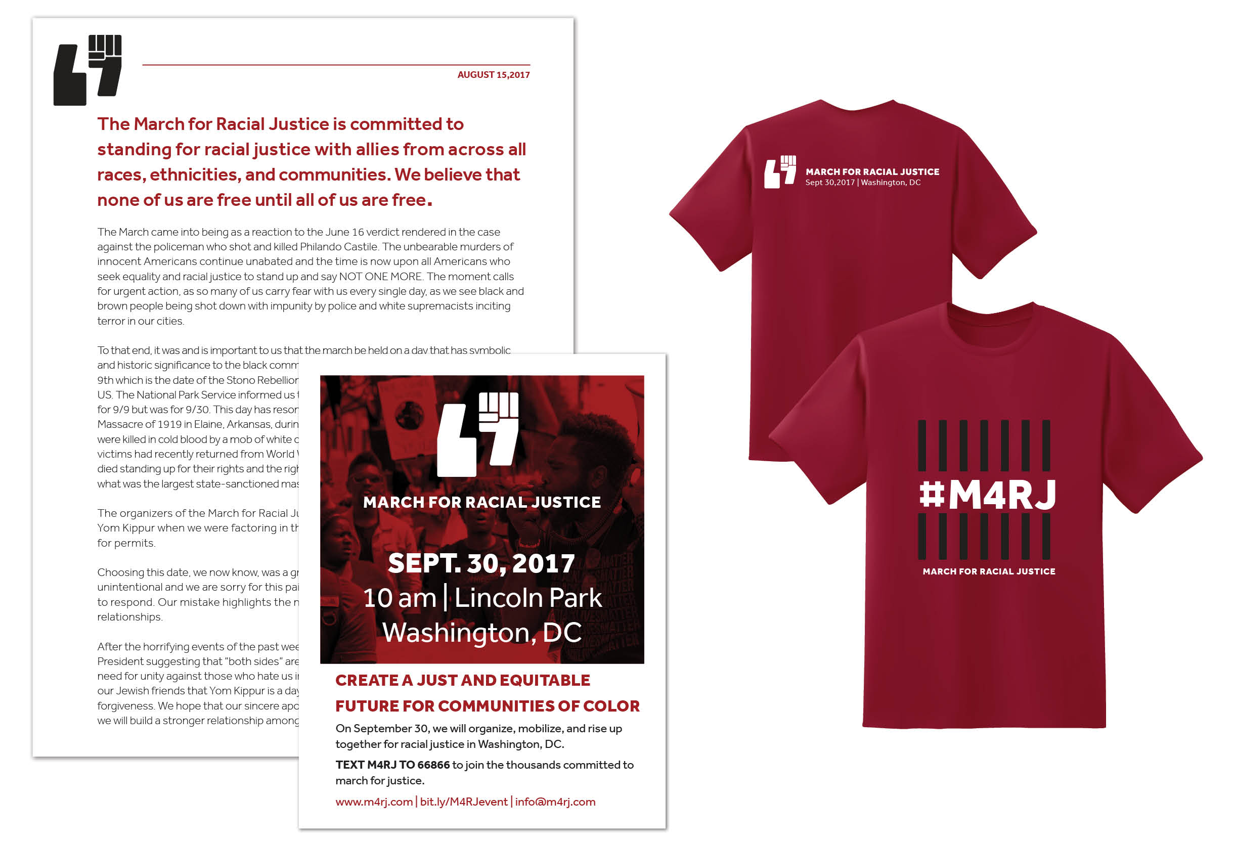March for Racial Justice t-shirt design, letterhead, and annoucement flyer