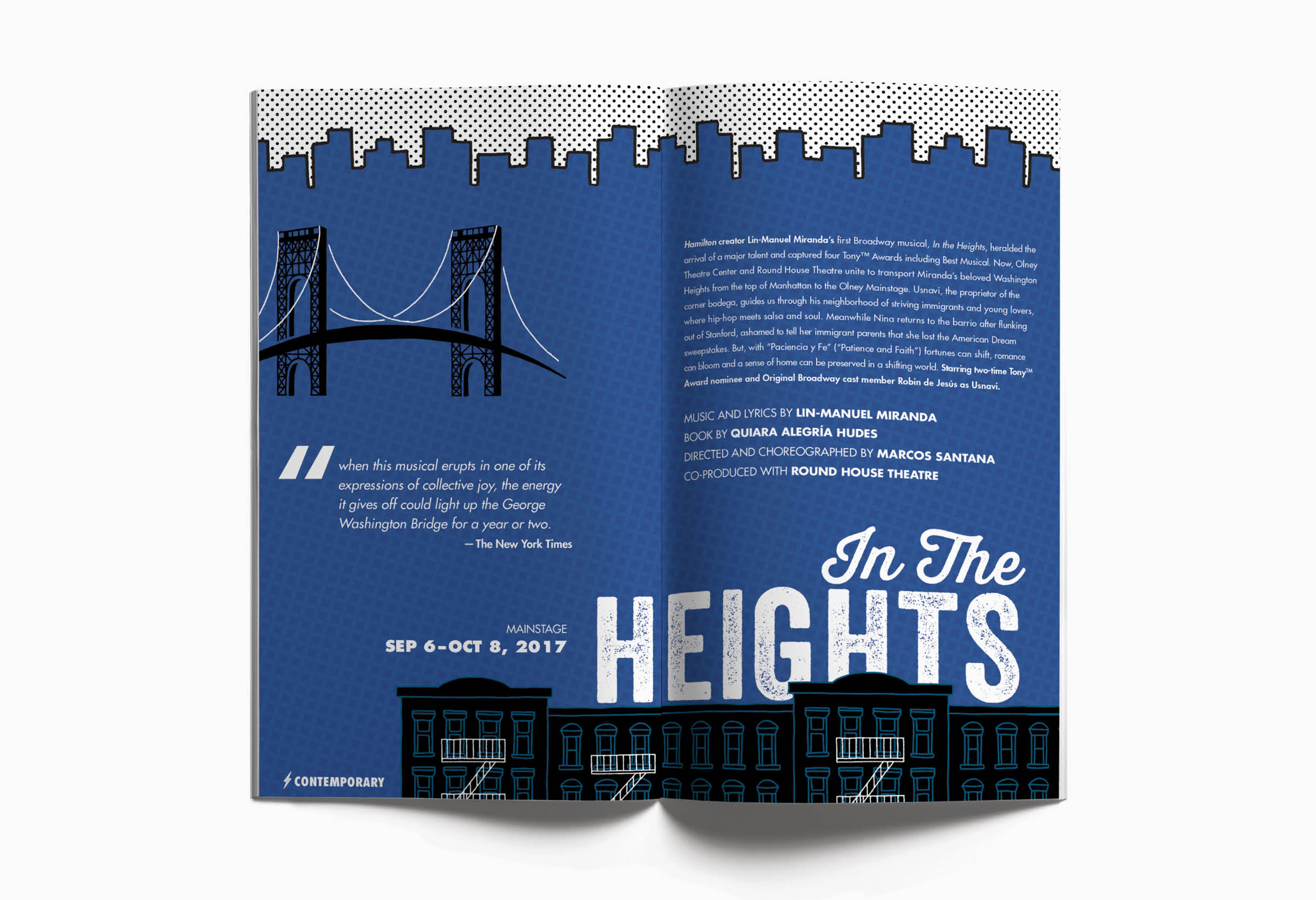 Olney Theatre Center booklet and season art: In The Heights