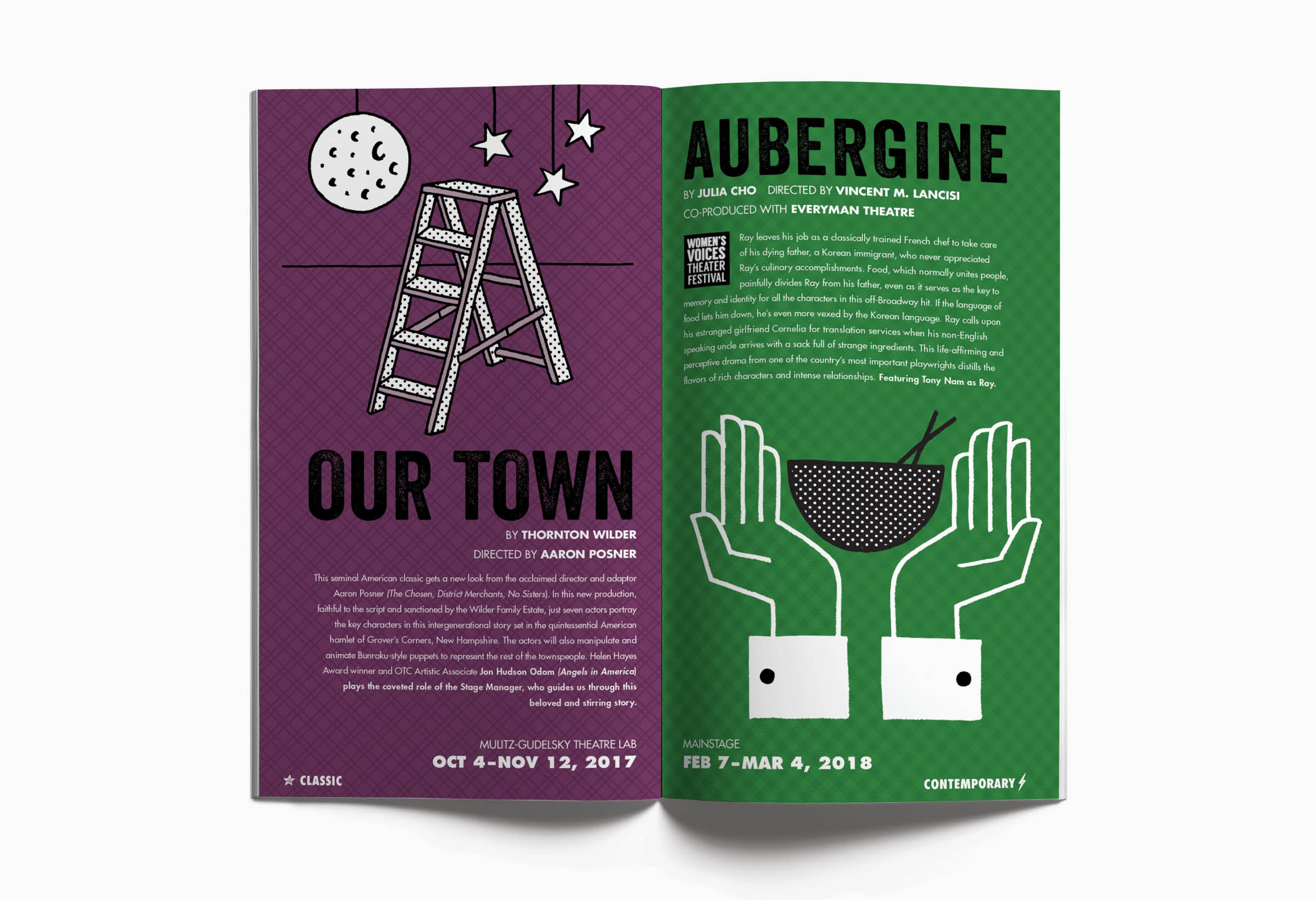 Olney Theatre Center booklet and season art: Our Town and Aubergine