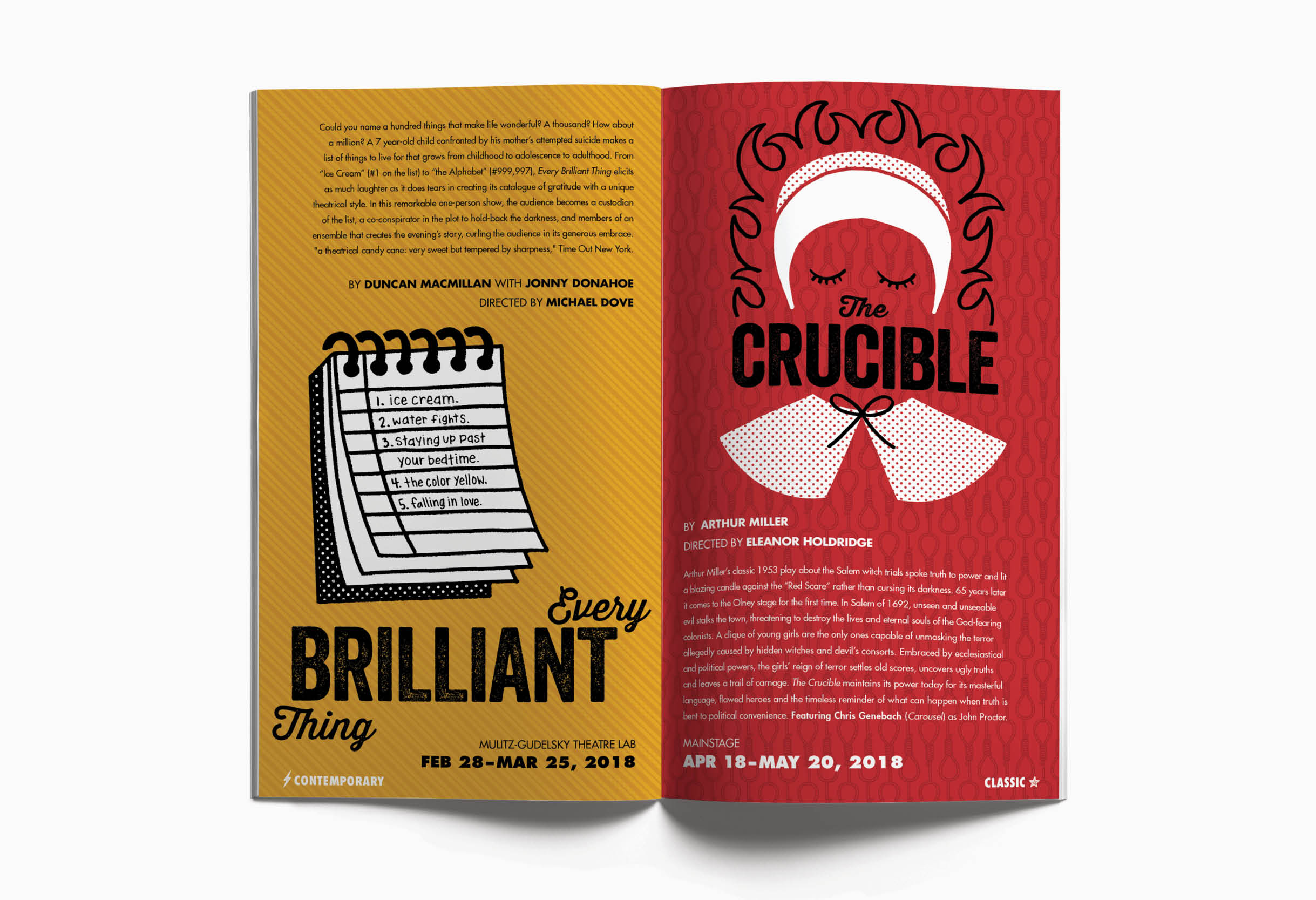 Olney Theatre Center booklet and season art: Every Brillian Thing and The Crucible