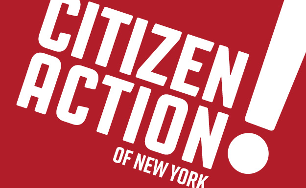 Design Choice are brand design specialists: Citizen Action of New York logo in white on a red background