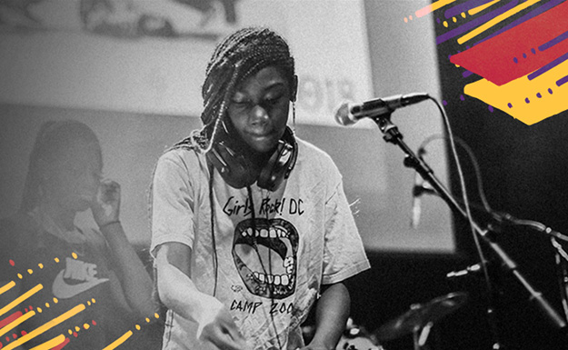 Design Choice are branding and web design specialists: black and white photo of girl DJing on a stage - surrounded by bright colored and hand-drawn action lines and trapazoids