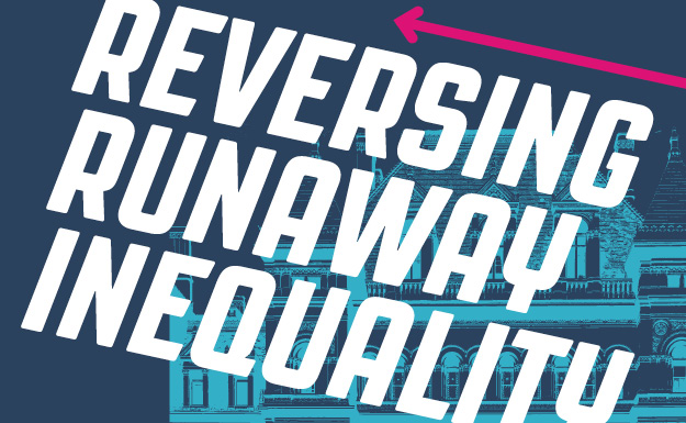 Design Choice are publication design specialists: Close up of the Reversing Runaway Inequality cover illustration