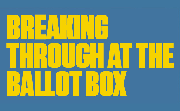 Design Choice are publication design specialists:Breaking Through at the Ballot Box publication cover utilizing bold yellow type on a blue background